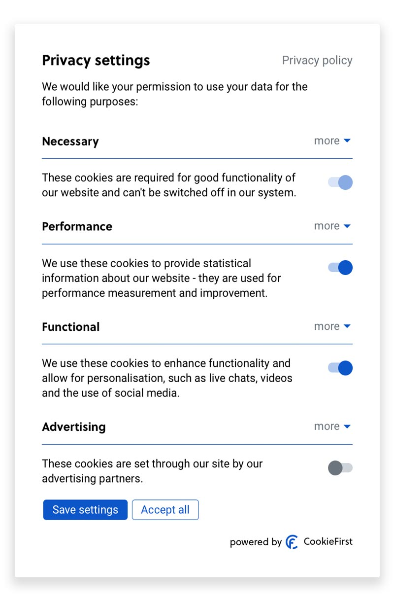 CMP Cookies - The CookieFirst consent management platform offer cookie compliant banner and panels.