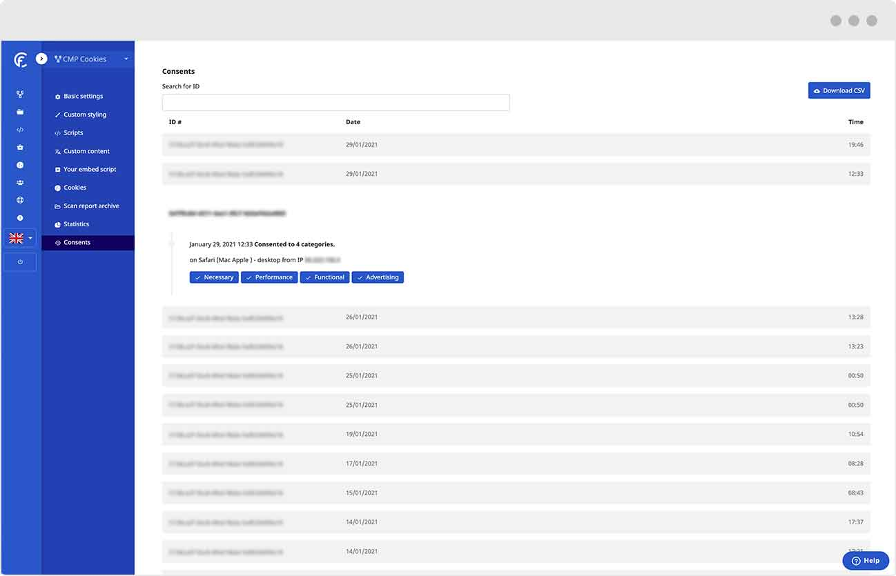 CMP Cookies - Our consent management platform offers an audit trail to view consent history of your visitors