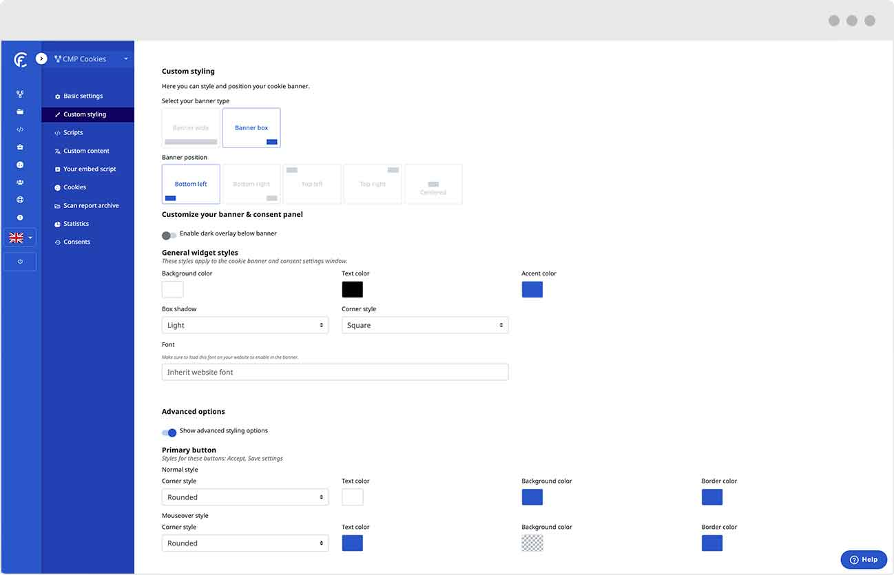 Customize the styling of your cookie banner in the backend of our consent management platform